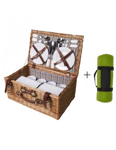 Picknickmand Perla + picknickkleed groen
