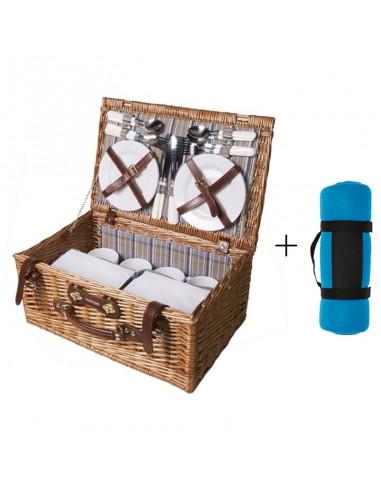 Picknickmand Perla + picknickkleed blauw