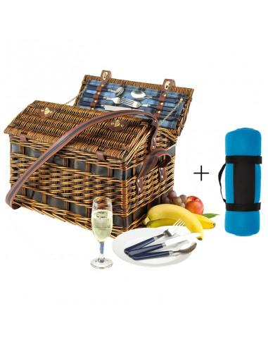 Picknickmand Fabia + picknickkleed blauw